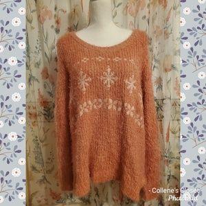 LC Lauren Conrad Pink Fuzzy Snowflake Sweater L